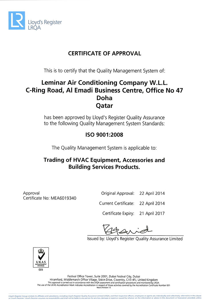 ISO 9001:2008 - Leminar Air Conditioning Company WLL, Qatar