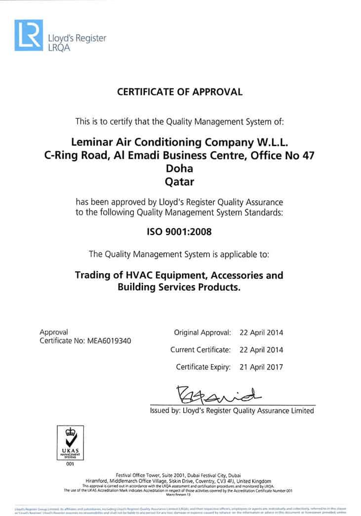 ISO 9001:2008 - Leminar Air Conditioning Company WLL, Qatar