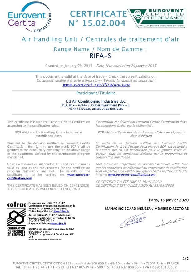 Unit Certification-RIFA-S